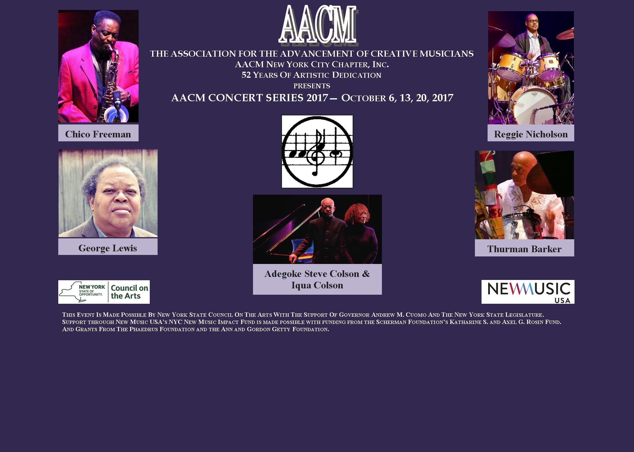 Image for AACM New York City Chapter, Inc. Concert Series October 6, 13, 20, 2017