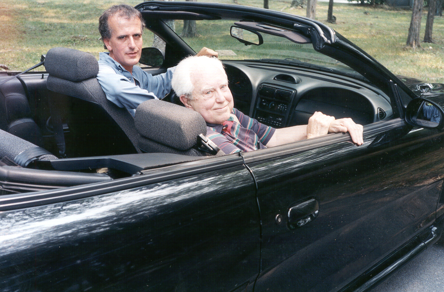 Carter in a car with Paul Griffiths, the librettist for his opera What Next?, who is driving , near Tanglewood in July 2006.