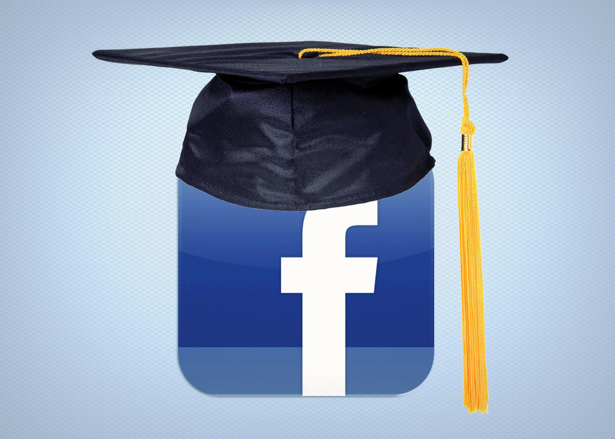A tasseled graduation cap atop a blue box containing a white lower case f (the Facebook logo).