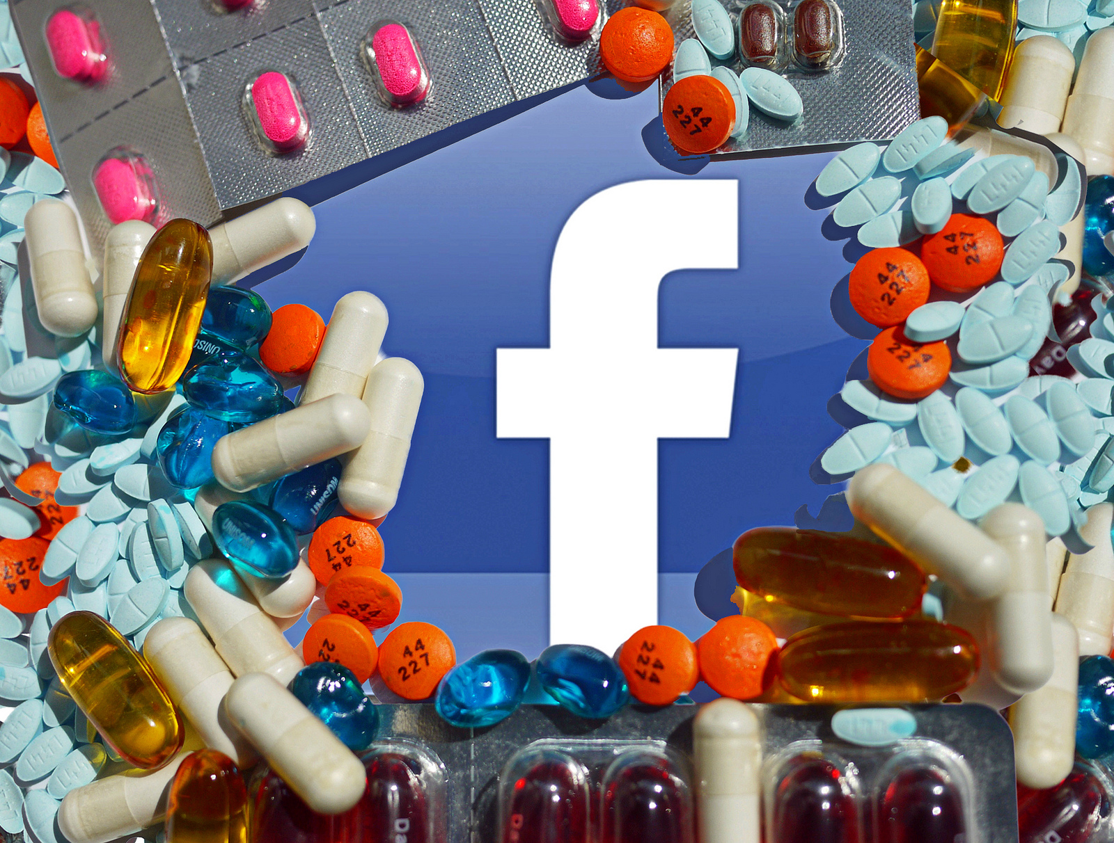 A lower case f (the Facebook logo) surrounded by a collection of pills and tablets.
