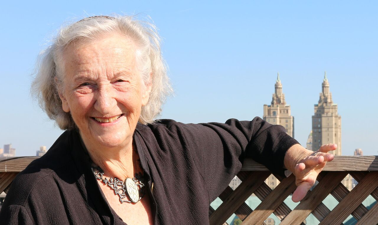 Thea Musgrave on the roof of the Ansonia.