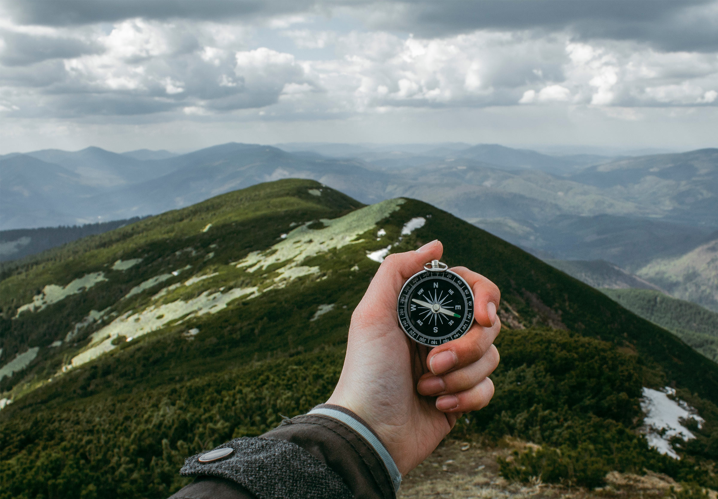 Mountain compass direction finding
