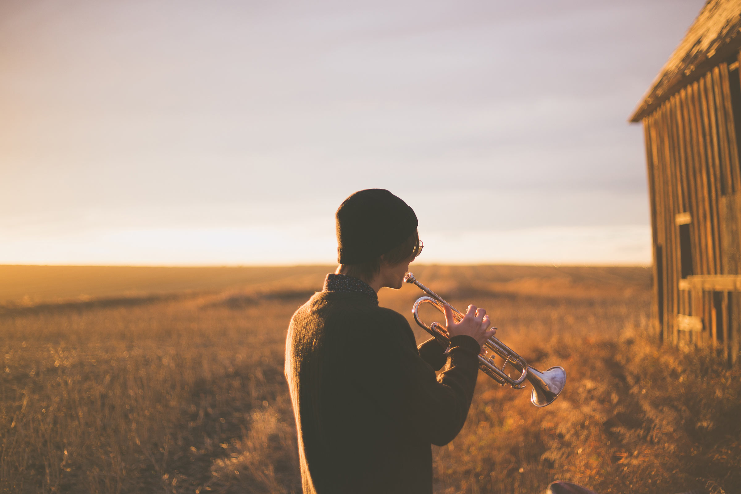 horn player in a field