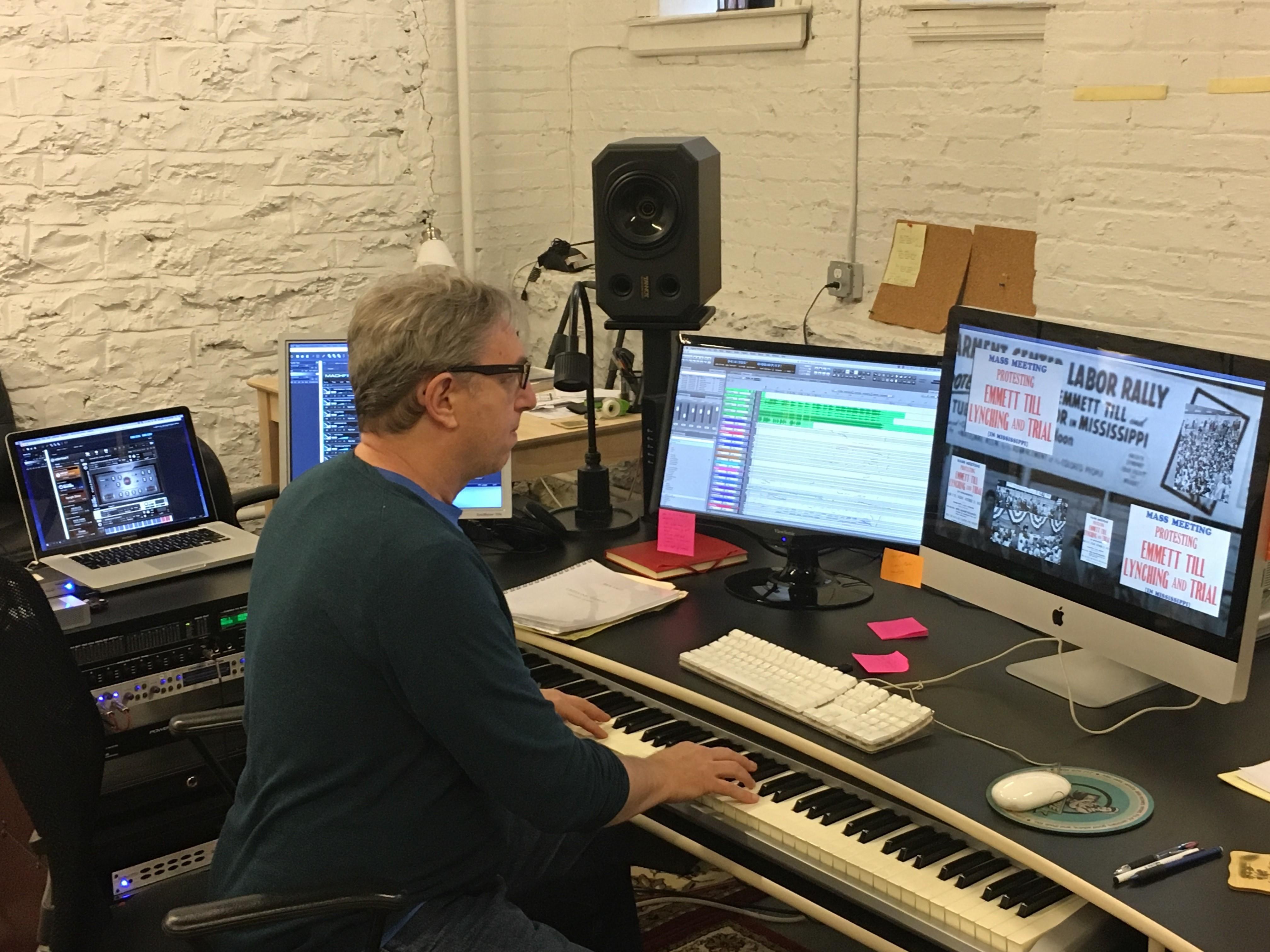 Rick Baitz working on the final revisions of his score for Monadnock Media's Emmett Till documentary.