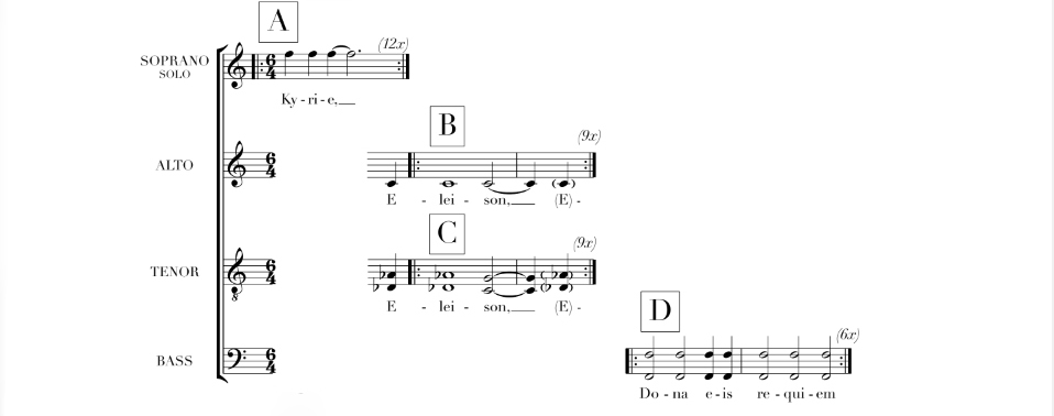 The opening system of Ethan Gans-Morse's Kyrie published by See-A-Dot Music.