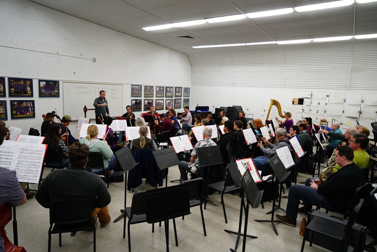 A rehearsal of the Redlands Community Orchestra