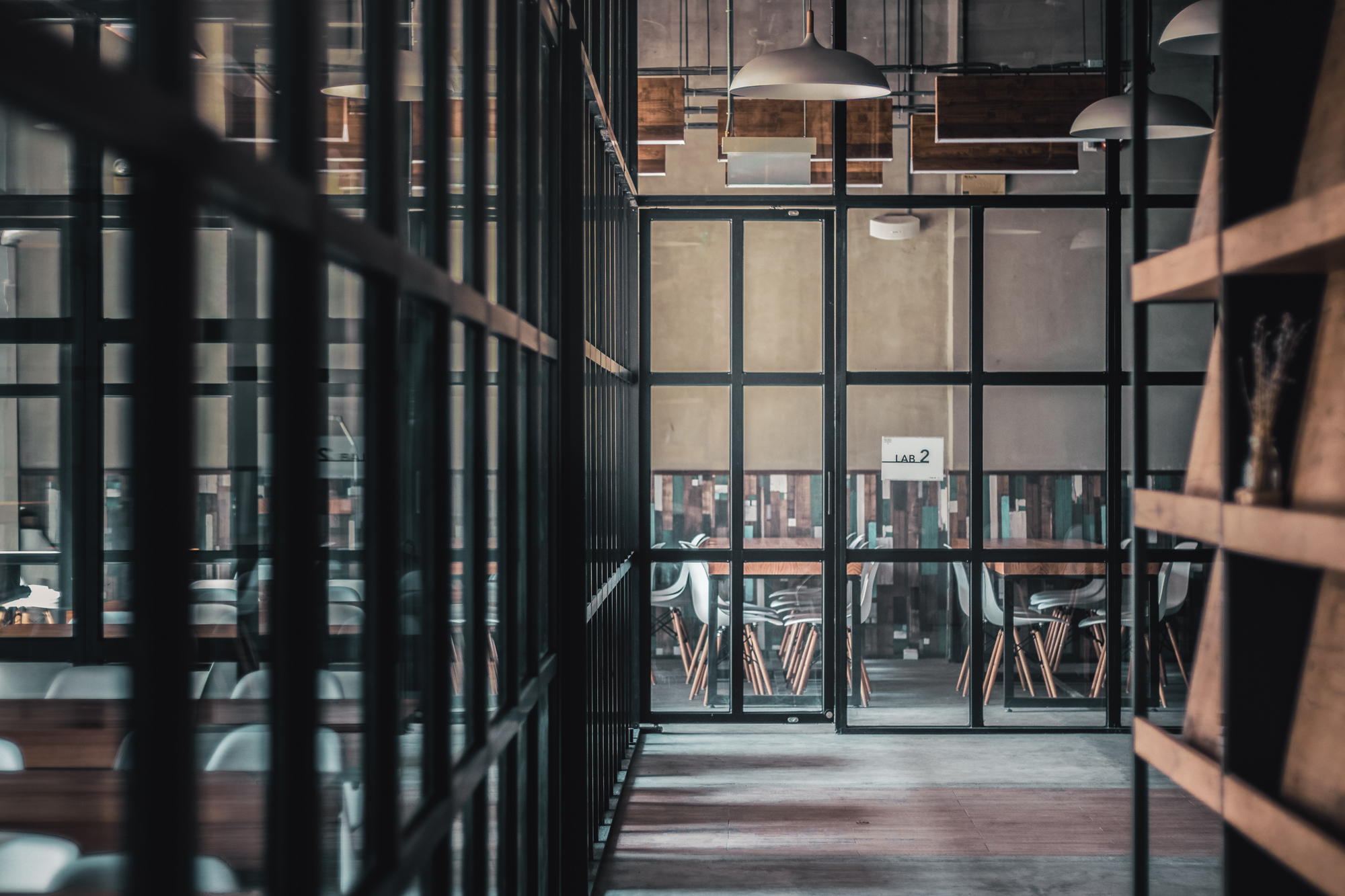 A hallway with windows looking into classrooms filled with chairs and desks (photo by Jason Wong via unsplash)