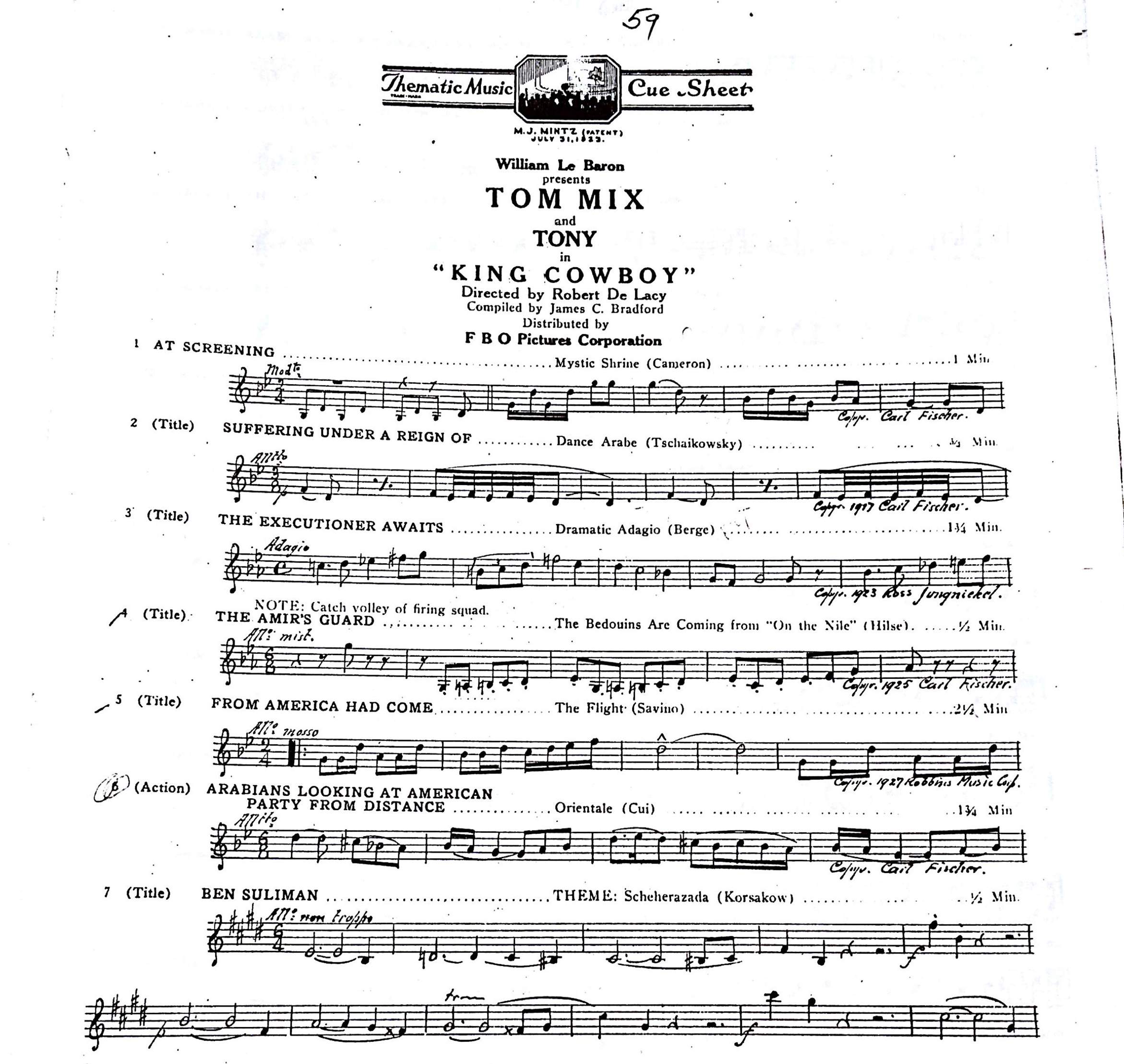The cue sheet for King Cowboy