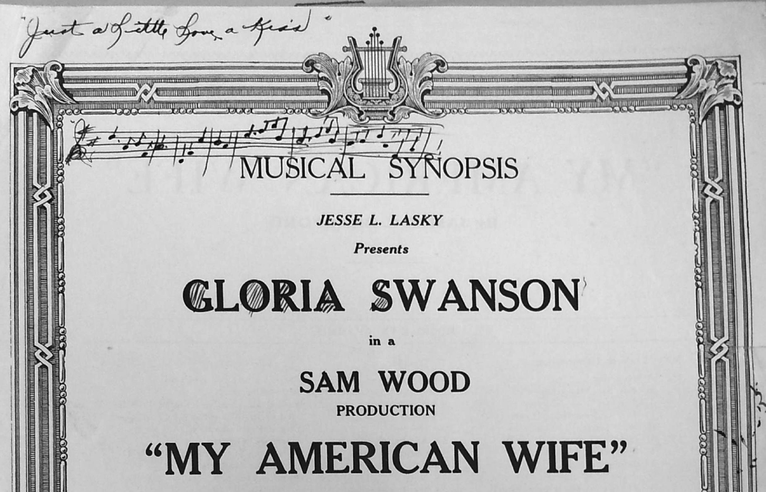 The cover of the cue sheet for My American Wife (1922)