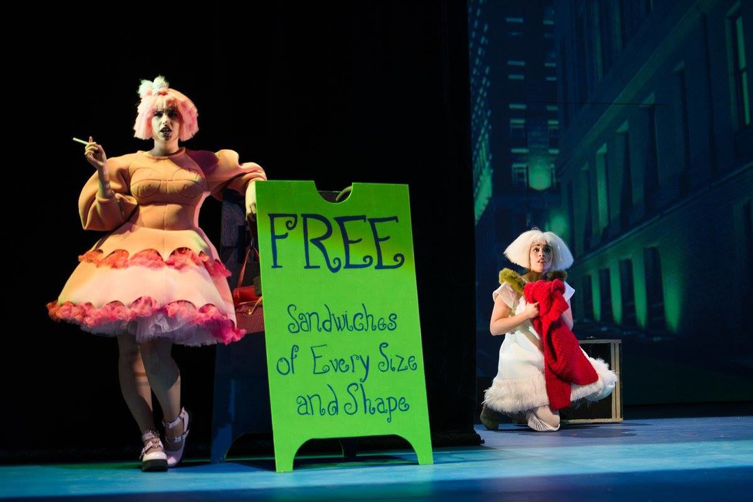 From a 2016 production Higglety Pigglety Pop 2016 featuring Aiden Feltkamp as Pig with soprano Sophia Burgos (Photo credit Tam Lan Truong)