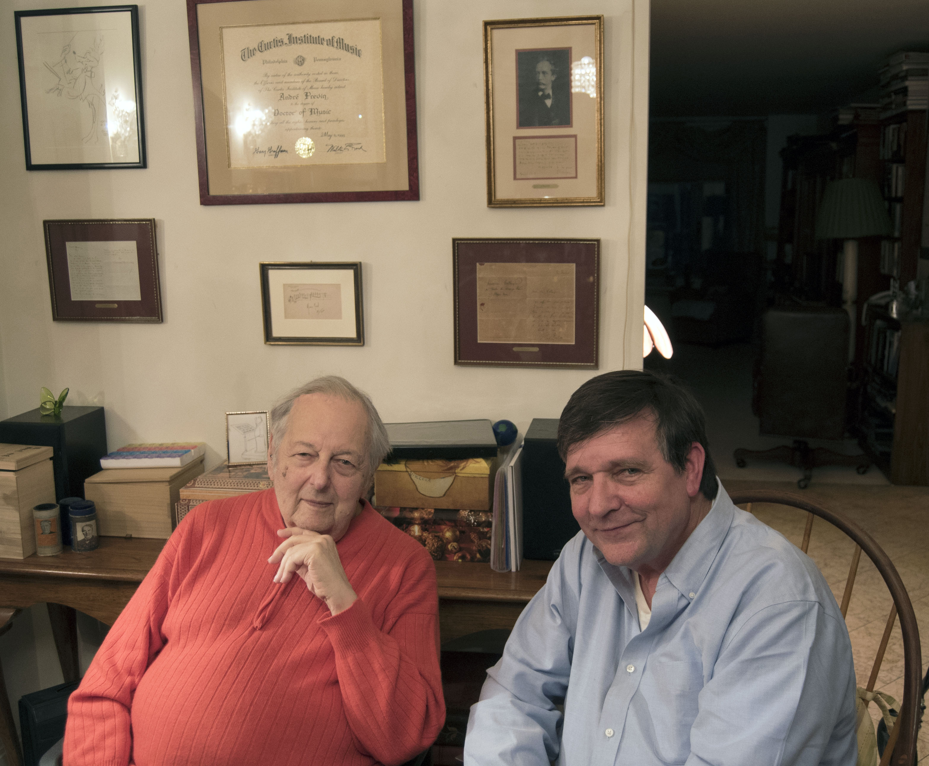 André Previn and David Fetherolf in Previn's home (photo by Andrew Stein-Zeller)