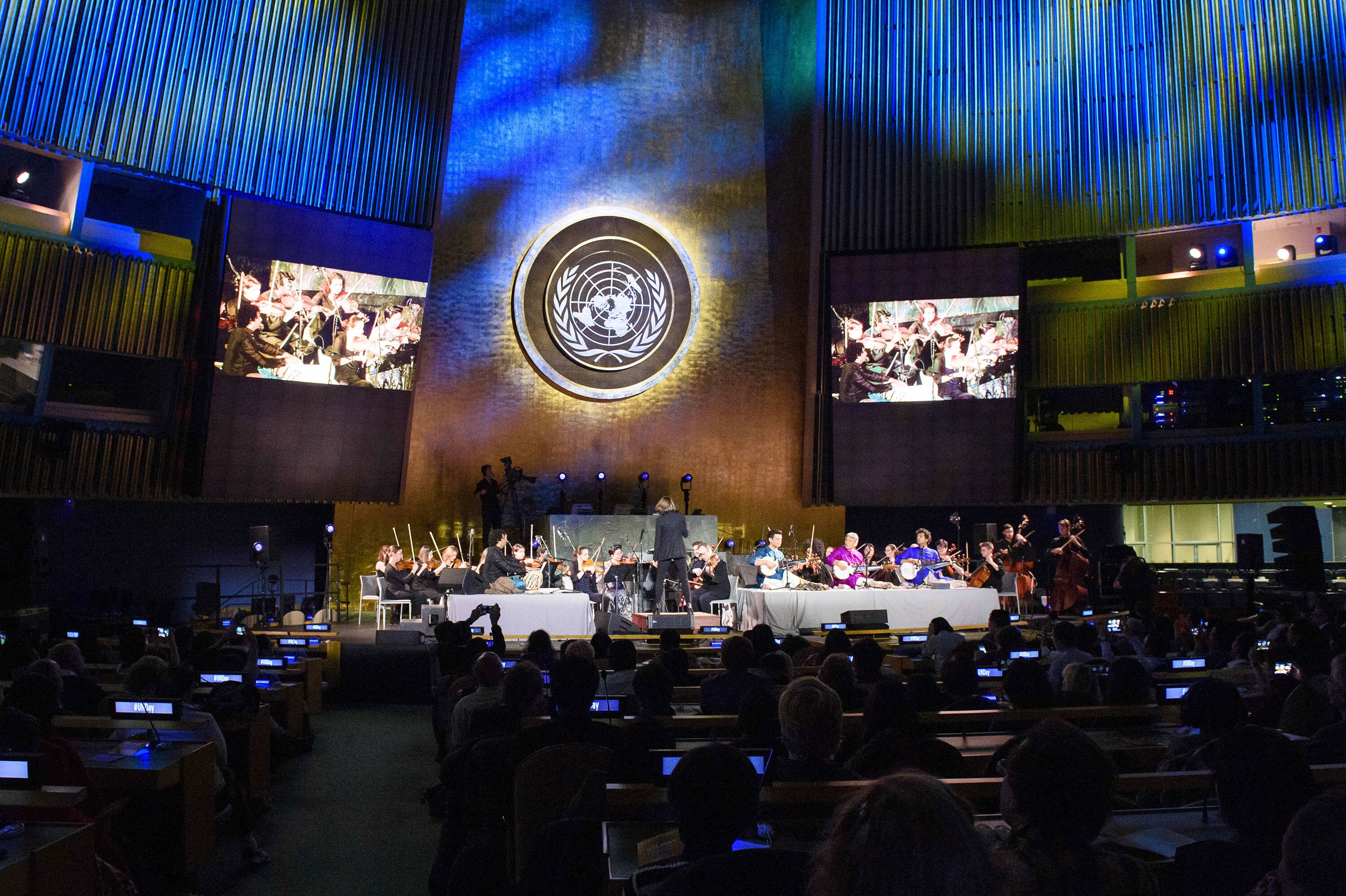 The Refugee Orchestra Project performing at the United Nations in 2018