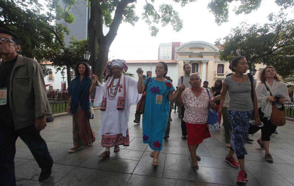 Activists of the international including Nejma Nefertiti, Mama C and Gizelxanath Rodriguez.