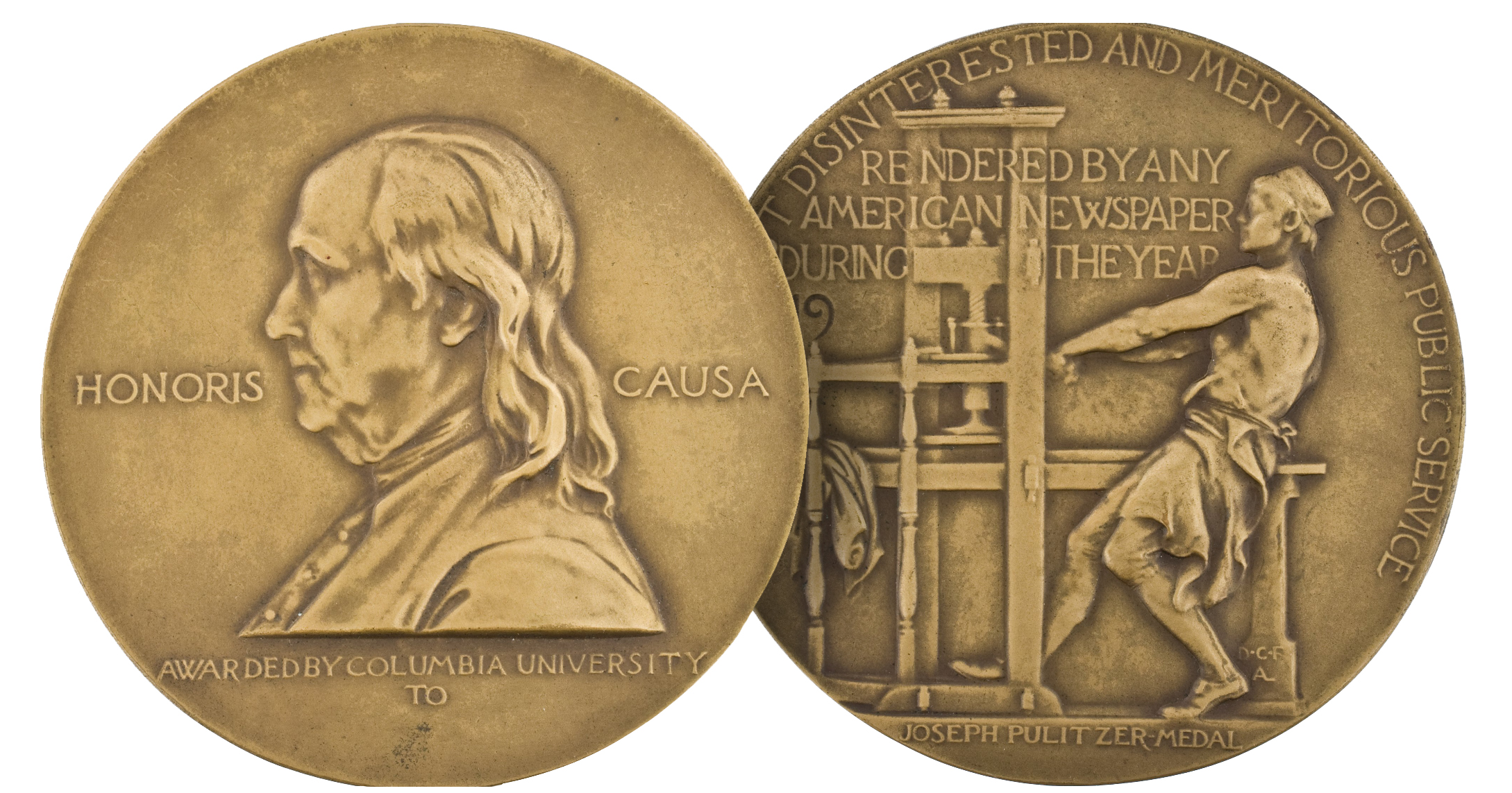 The two sides of a Pulitzer Prize medal awarded in 1917.