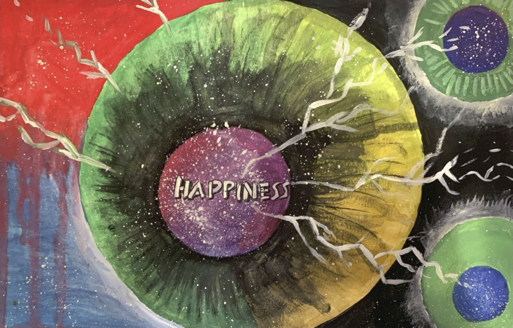 """""""pursuit of happiness"""" by Anjna Swaminathan (the back cover art for The Art of Being True)"""