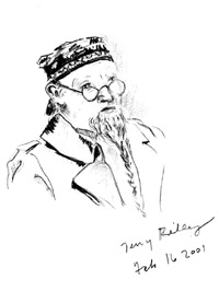 A drawing of Terry Riley