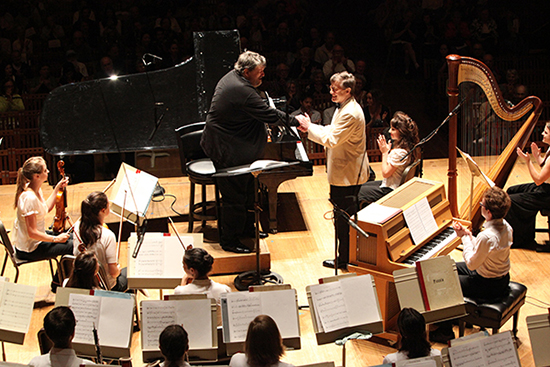 Oliver Knussen and Peter Serkin with the TMCO at the final FCM performance.  Photo by Hilary Scott.