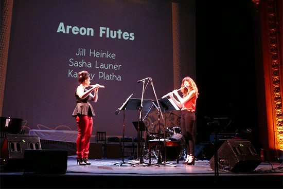 "Kassey Plaha (left) & Jill Heinke of Areon Flutes, performing ""Enantiodromia"