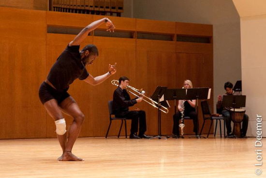 Student dancer and musicians at SUNY Fredonia. Photo by Lori Deemer.
