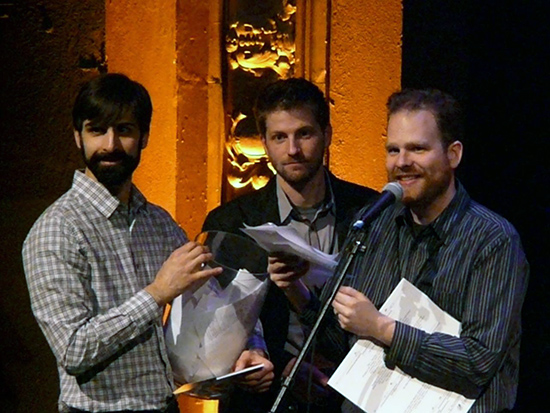 Switchboard directors Jeff Anderle (left), Ryan Brown, Jonathan Russell, trying to locate raffle winners