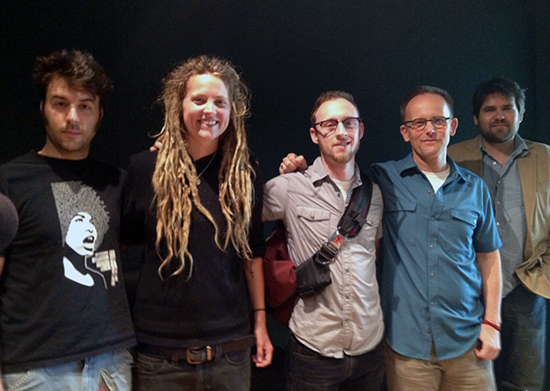 Poets Danny Strack, Lacey Roop and Kevin Burke with Craig Hell Johnson and KUT's Mike Lee