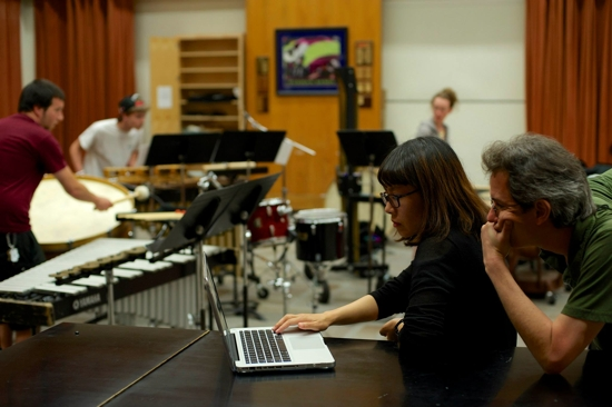 Christopher Adler working with composition fellow Young-jin Jeon.
