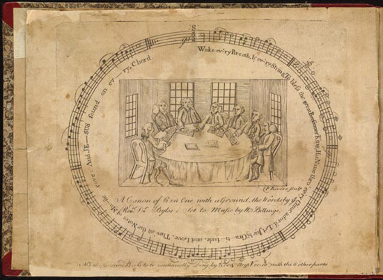 Paul Revere's engraved frontispiece for Billings's New England Psalm Singer
