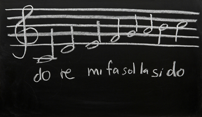 Music on blackboard