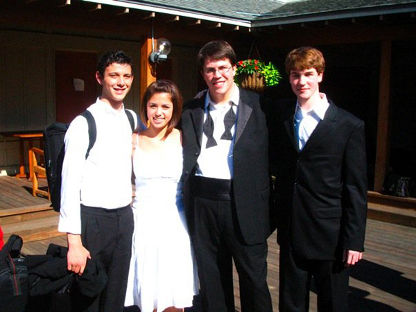 Sam Almaguer (clarinet), Molly Yeh (percussion), Nathan von Trotha (percussion), and Chris Pell (clarinet) before their last orchestra concert in the summer of 2007.