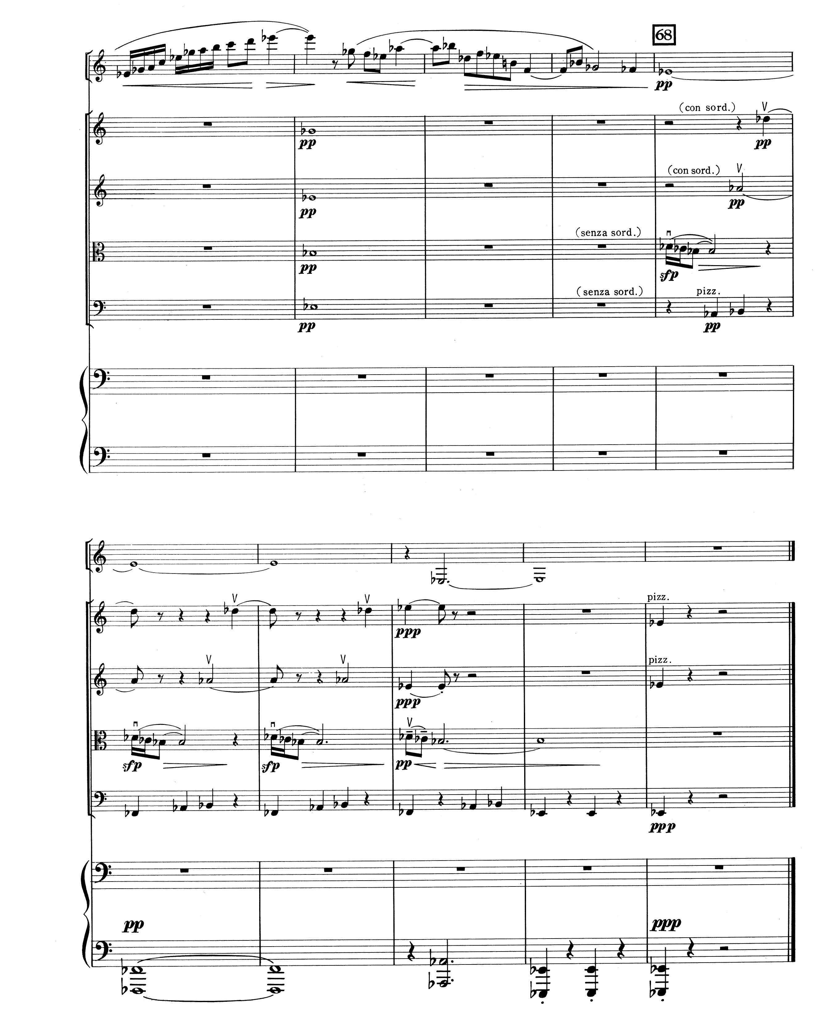 The last page of the score of Orrego-Salas's Sextet