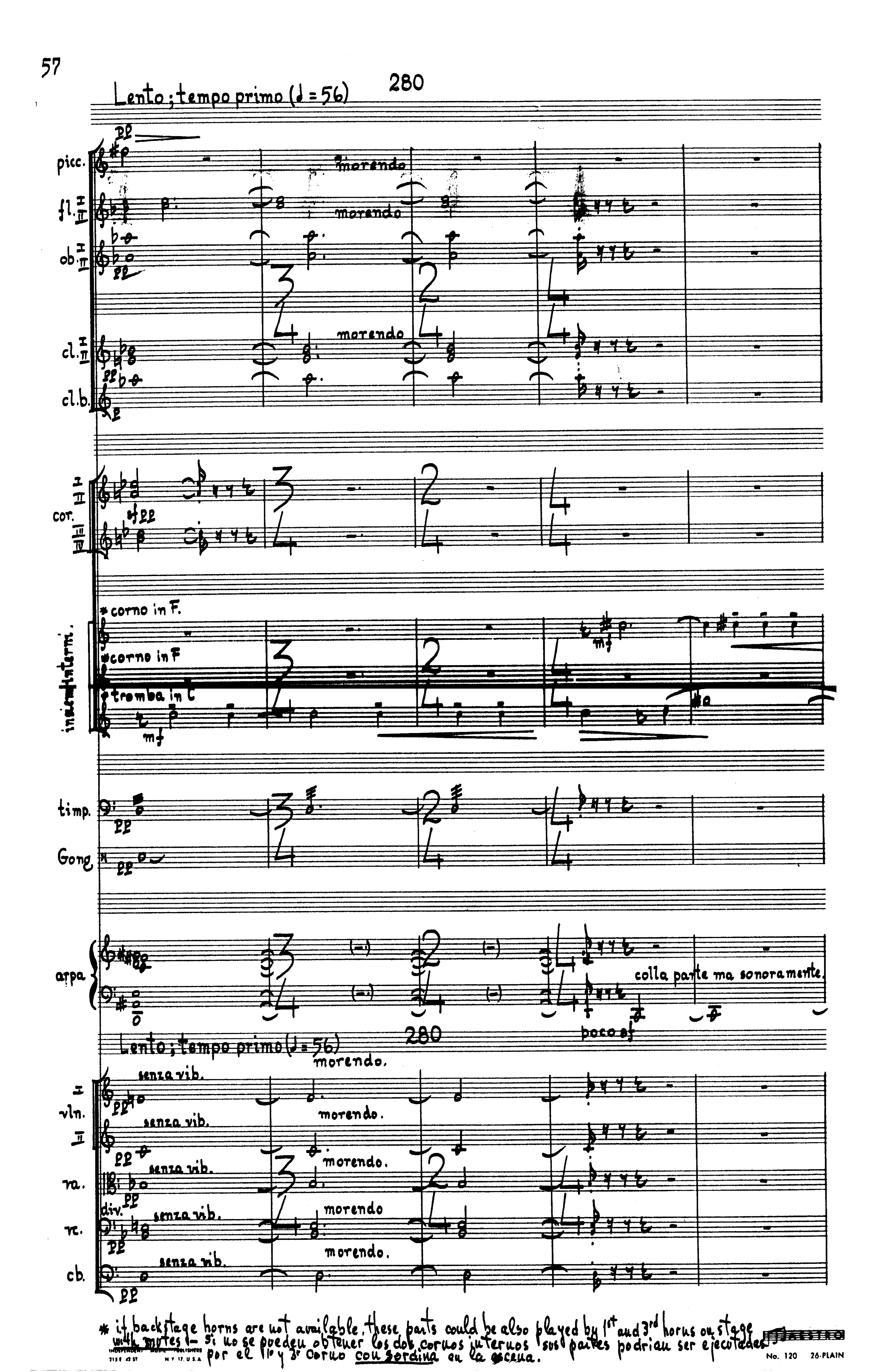 Score excerpt from Orrego-Salas's 4th Symphony