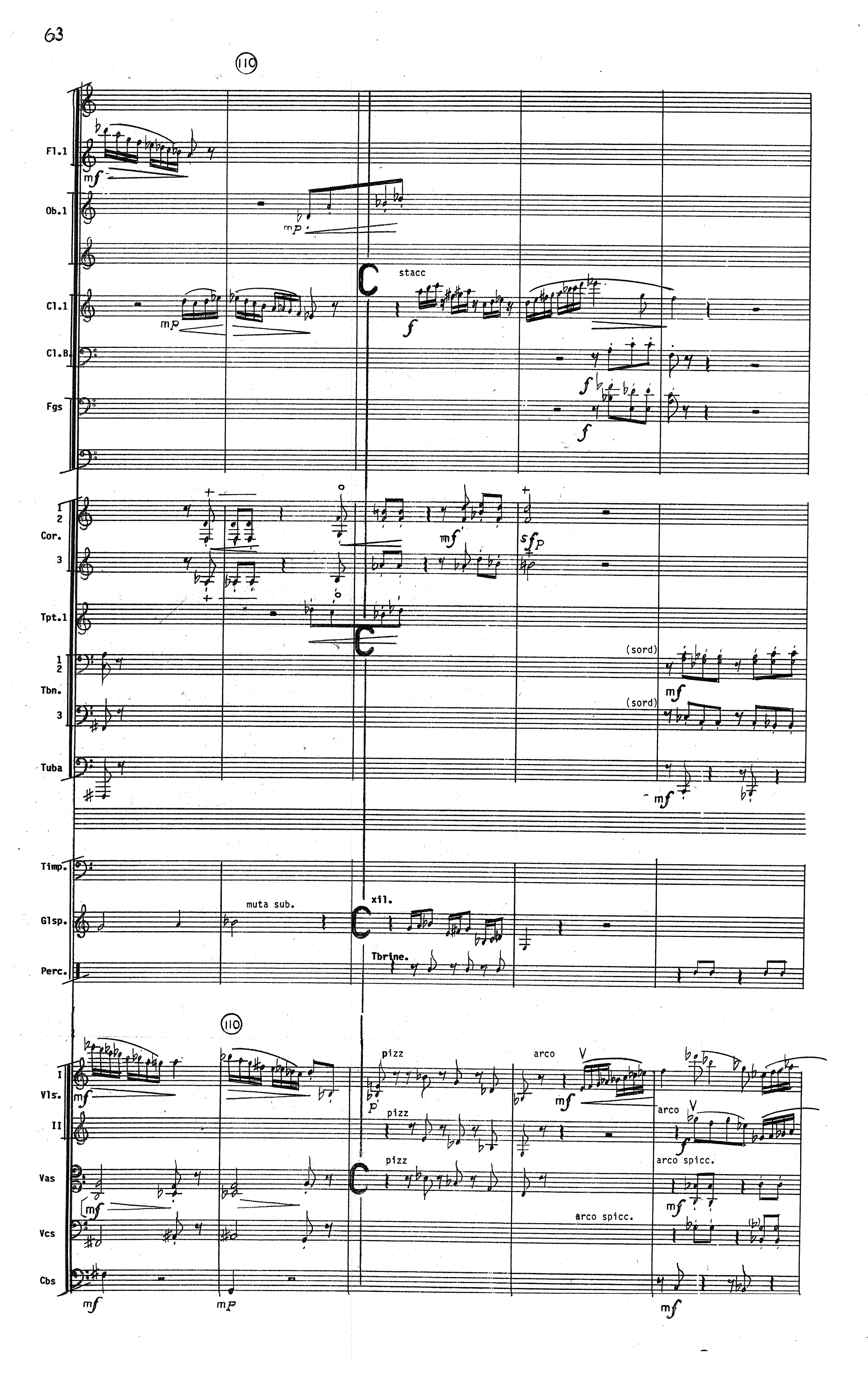 Excerpt from the score of Orrego-Salas' 5th Symphony