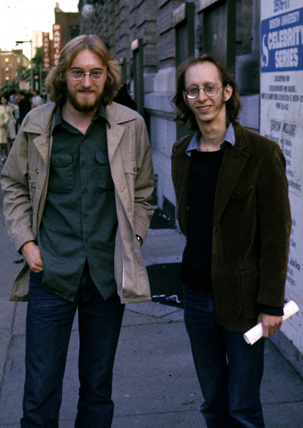 Glenn Gass and Lee Hyla outside Jordan Hall in 1977. (Photo by Clinton Gass.)
