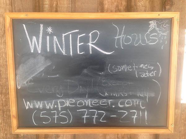Pie Town Winter Hours