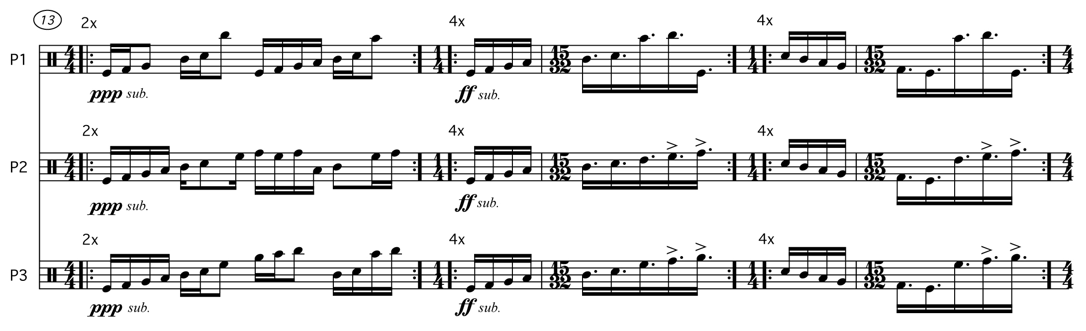 An excerpt from the score of Robert Honstein's An Index of Possibility for three percussionists (2012)