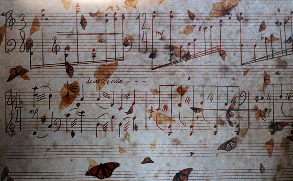 Prestini score overlayed with butterflies