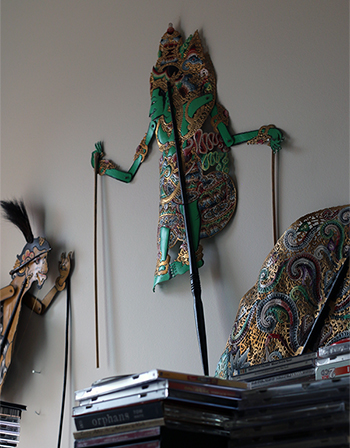 Traditional puppets on Prestini's wall