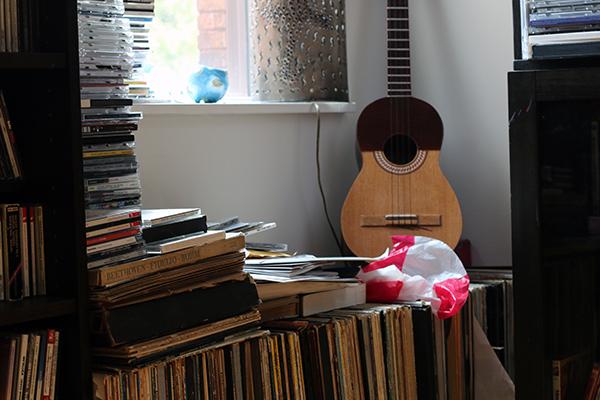 Piles of recordings in Prestini's home