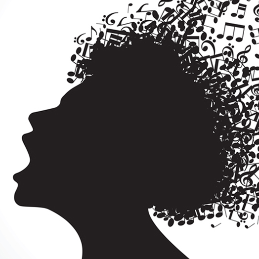 silhouette in profile with musical hair