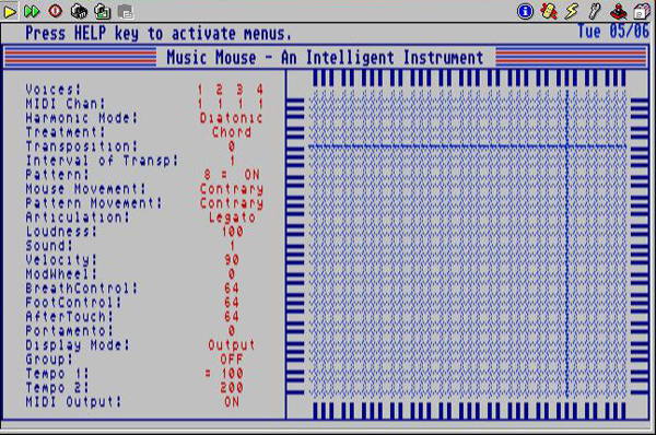 Screen shot of Music Mouse software in use
