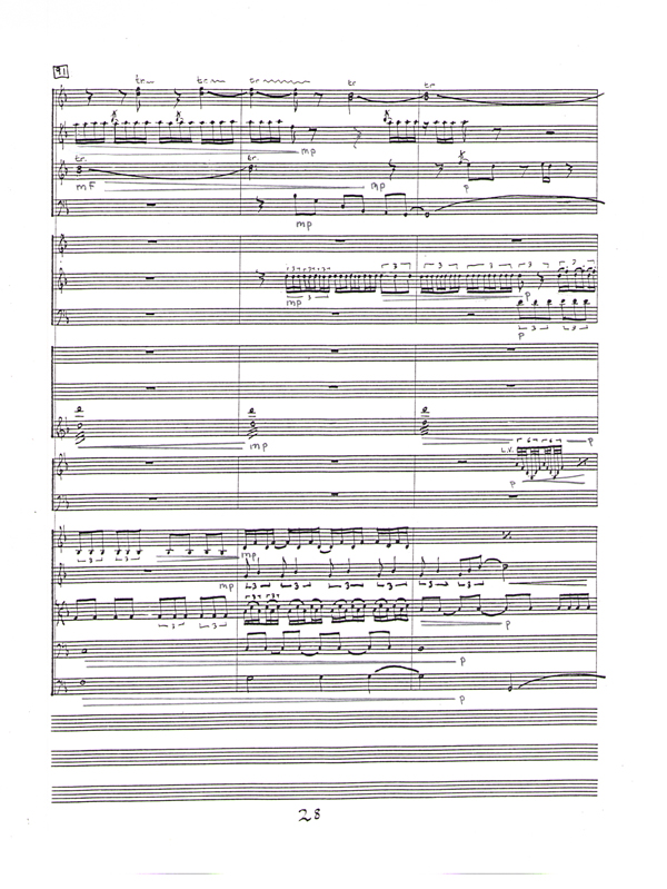 page of handwritten orchestral score