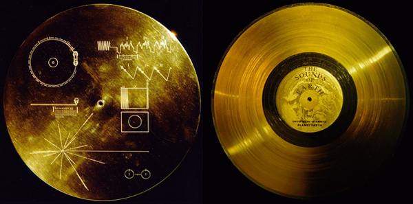 The cover for the Voyager record and the record