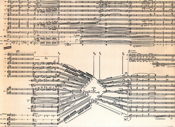 Page from a handwritten score by Kitzke showing all staves converging