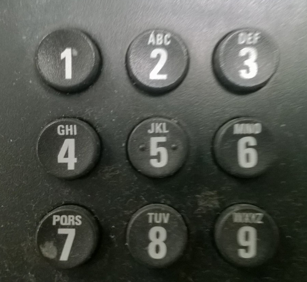 The keypad of a telephone showing the buttons for numbers 1 to 9