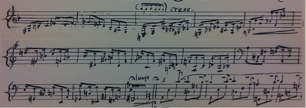 An excerpt from the manuscript of Ernst Bacon's solo guitar composition Episode
