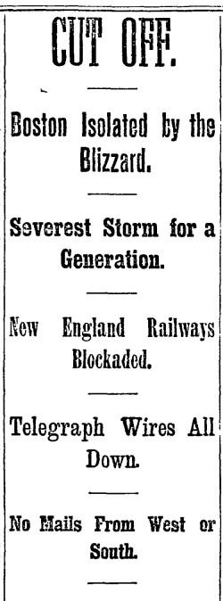 The Boston Daily Globe surveys the frozen scene, March 13, 1888.