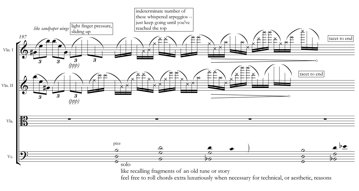 A passage from the string quartet score of Caroline Shaw's Entr'acte