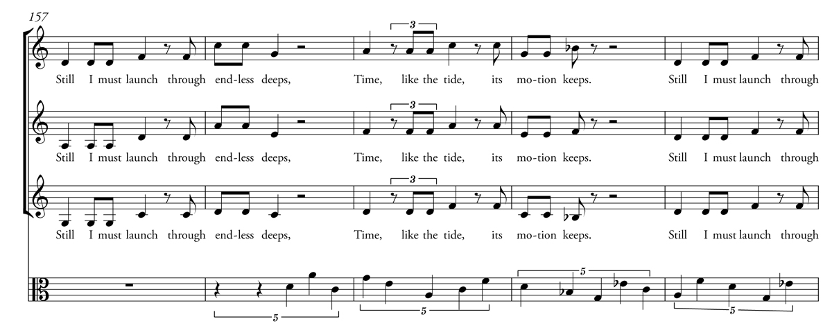 A passage from the score of Caroline Shaw's choral composition Its Motion Keeps