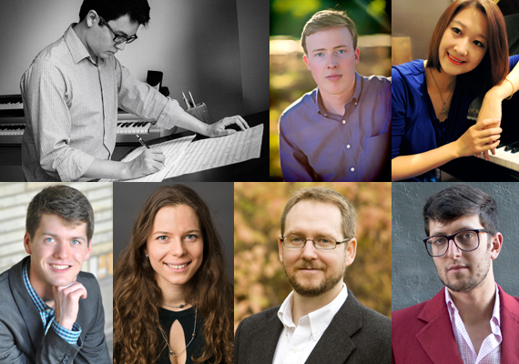 A composite image from photos of the 7 composers chosen for the Underwood readings