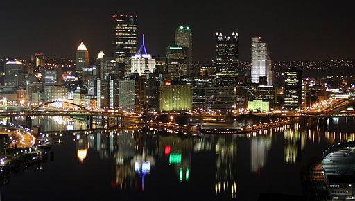 A view of the Pittsburgh skyline at night